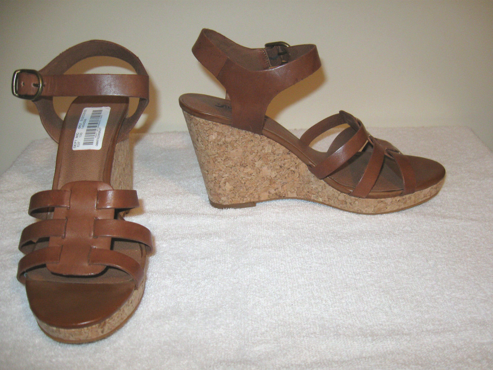 Lucky Brand Womens Wedge Sandal Brown Leather Size 9M NWOB
