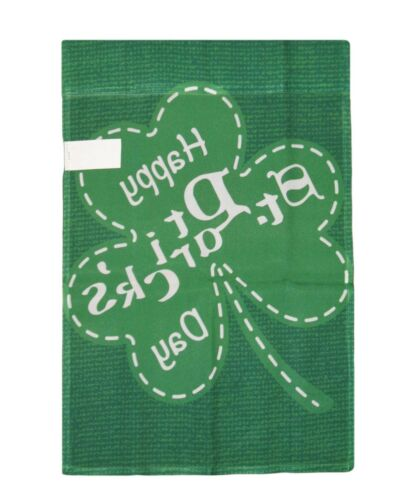 "12x18 Happy St Patricks Day Three Leaf Clover Sleeved Garden 12/""x18/"" Flag"