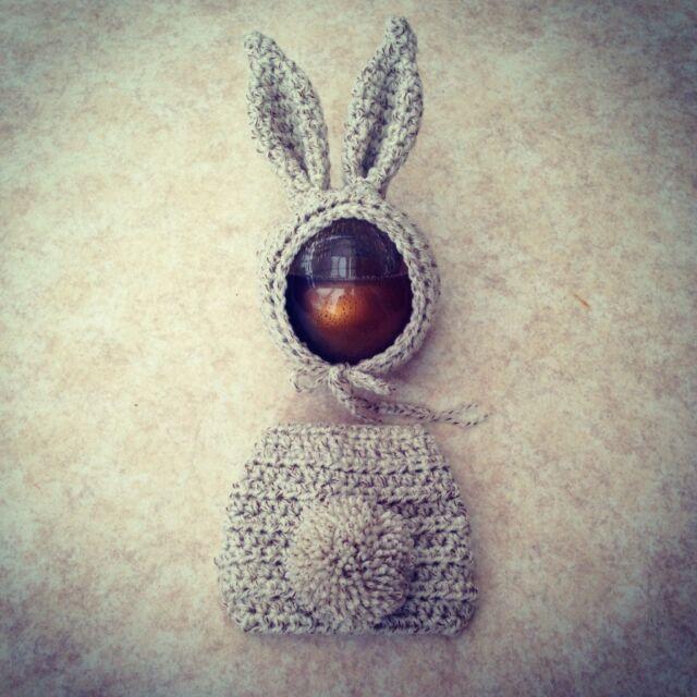 Handmade crochet bunny bonnet nappy cover pom pom tail Photography prop. Newborn