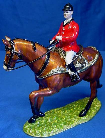 JULIANA TREASUROT HORSE TRINKETS FOX HUNTER HORSE TREASUROT & HUNTSMAN METAL TRINKET BOX 15232 4b8bdf