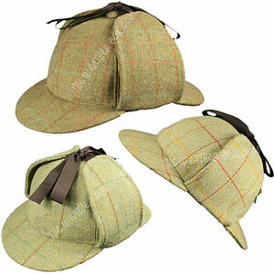 100-Wool-Tweed-Deerstalker-Hat-Waterproof-Sherlock-Holmes-English-Hunting-Cap