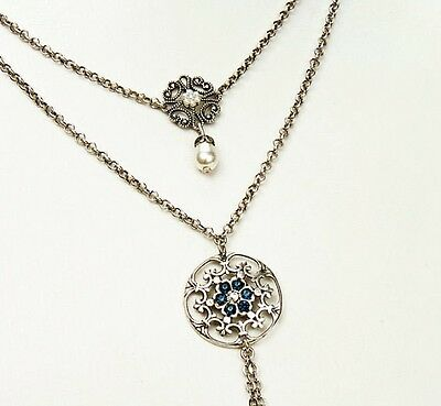 Double Layer Strand Silver Necklace Lace Style Jewelry Blue Swarovski Crystals