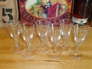 Vintage-6-Matching-Etched-1-oz-Cordial-Tasting-Liqueur-Glasses-Perfect