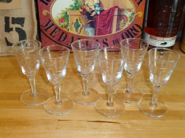 Vintage 6 Matching Etched 1 oz. Cordial Tasting Liqueur Glasses Perfect!