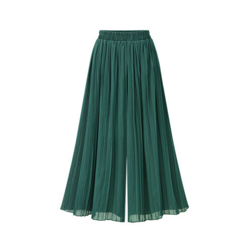 Femmes Couleur Unie Mousseline SPLIT Jupe Pantalon confort taille jambe large pantalon 6 A