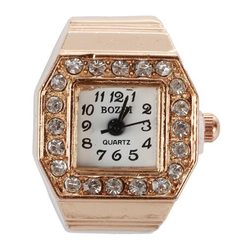 2X SODIAL Ein Quadrat Kristall Kupfer Dekor Finger Ring Gold Quadrat Diam 3I R
