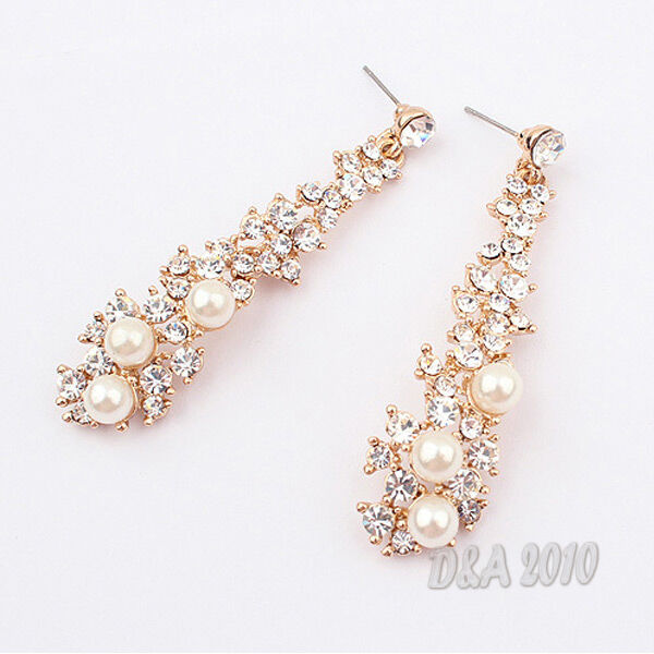Stylish Elegant Luxury Pearl Rhinestone Dangle Chandelier Earrings Stud 1 Pair