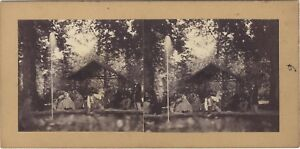Caffè Modalità Scena Artistica Foto Stereo Vintage Albumina Ca 1860