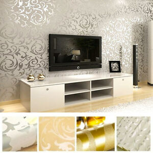 Image Is Loading Victorian Damask Luxury Wallpaper 3D Feature Wall Silver