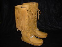Buffalo Women's 8 Gold Knee High Moccasins Indian Leather Bison Hide Leather