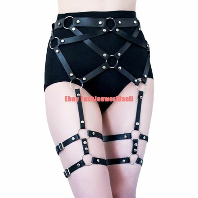 Stylish Punk Handcrafted Cross Leather Garter Body Bondage harness Waist BELT