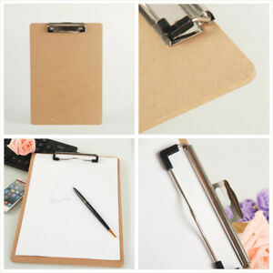 Wooden-A5-File-Paper-Clip-Wood-Writing-Board-Metal-Clip-Document-Clipboard-NeDD