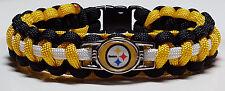 Pittsburgh Steelers Black, White, & Gold Handmade Paracord Bracelet or Lanyard
