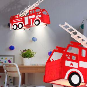 Jungen-Leuchte-Feuerwehr-Auto-Beleuchtung-Spiel-Zimmer-Kinder-Haenge-Lampe-rot