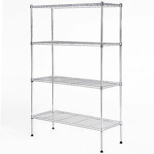 Image Is Loading 4 Tier Wire Shelving Rack Organizer Kitchen Steel