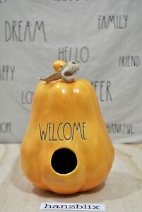 Rae-Dunn-Birdhouse-WELCOME-Gourd-Yellow-Thanksgiving-Fall-039-20-NEW