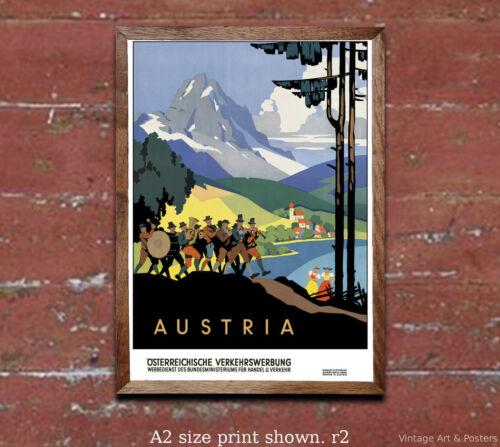Vintage Travel Poster Austria #2 4 sizes, matte+glossy avail