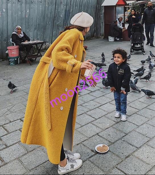 2019 Womens Lemo Yellow Double Breasted Long Parka Outwear Lamb Fur Casual Coat