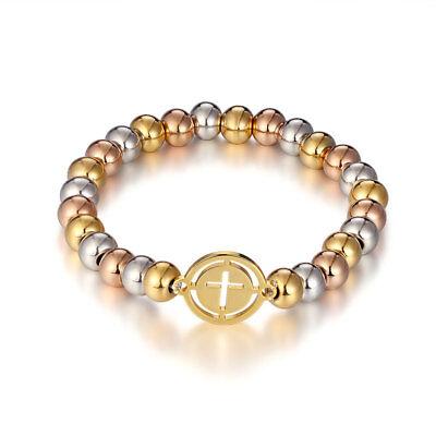 Womens Mens Stainless Steel Cross Silver Beaded Bracelet Bangle Fashion Jewelry