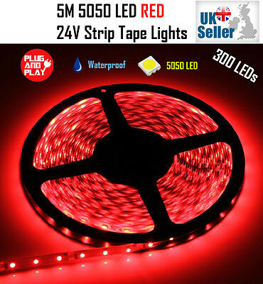 5M 24V 300 LED RED Flexible Strip Tape Light Super Bright 5050 LED Waterproof