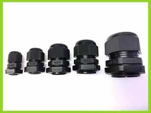 M12 M20 M25 M32 IP68 BLACK CABLE GLAND NYLON WITH NUT /& WASHER M16