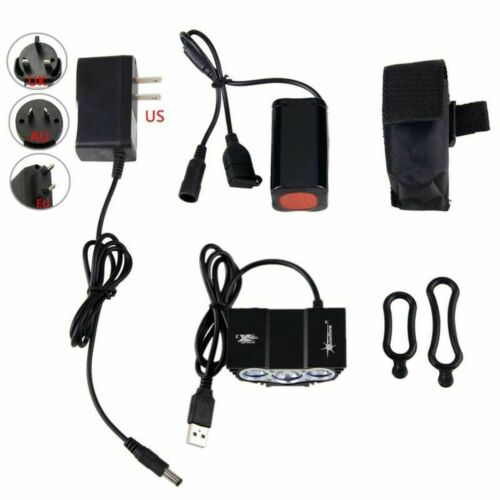 15000LM 3x XM-L T6 LED Bike Headlight Cycling Front Light Laser Rear Light USB