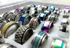 30pcs Mix SPINNER Men's Stainless Steel Rings Wholesale Jewelry Job Lots