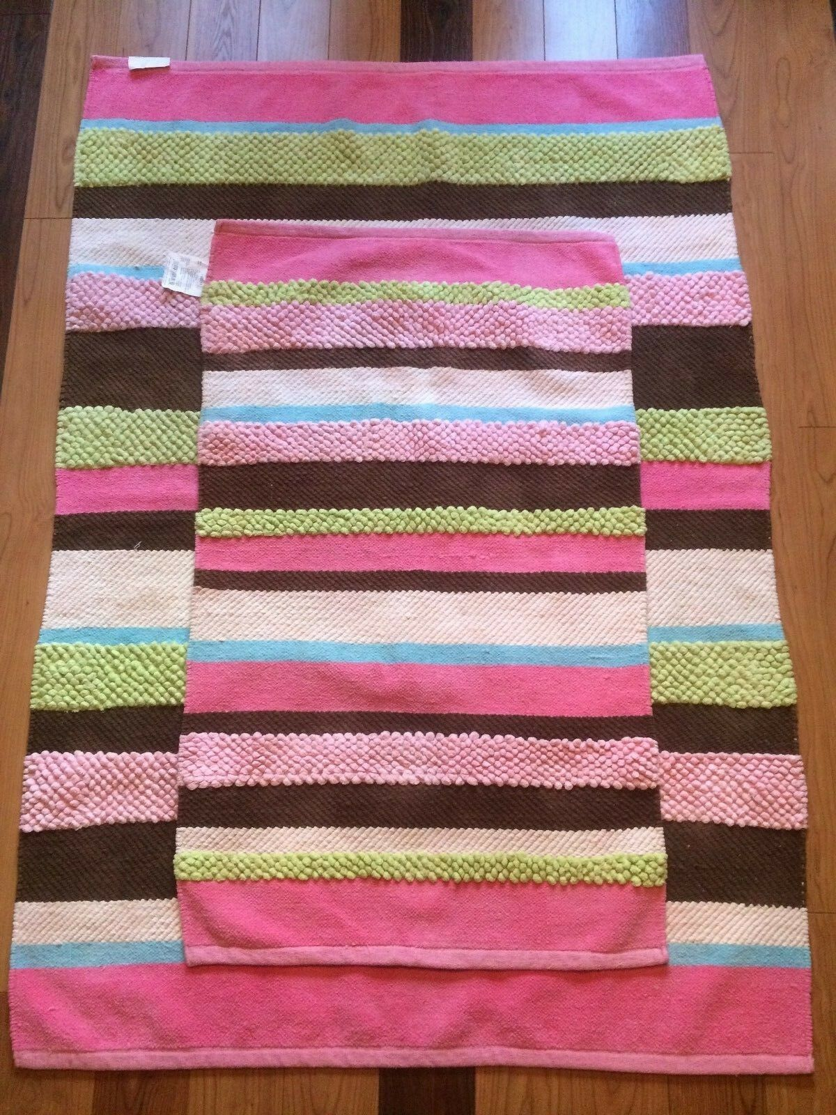 2 Throw Area Rugs, Circo Brand, Multi-Couleuruge, Texturouge, Striped, 46x67 & 29x48