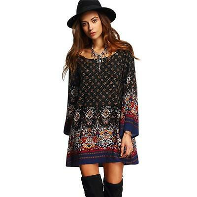 Women's Dress Long Sleeve Vintage Party Beach Dress Casual Vestidos Print Dress