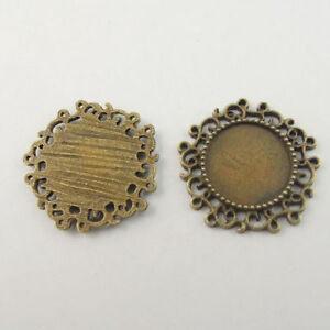 20PCS-Bronze-Tone-Alloy-Round-Charms-Cameo-Cabochon-Base-Setting-Pendants-Tray