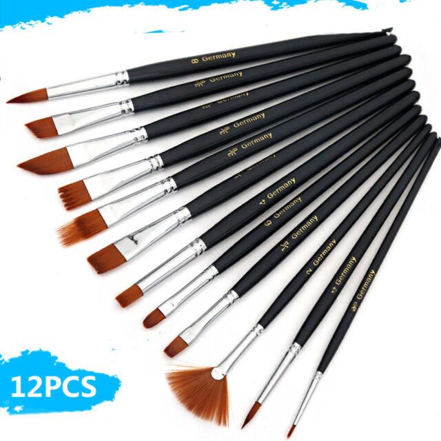 3//6//12pcs Artist Paint Brush Set Watercolor Acrylic Oil Painting Supplies Set