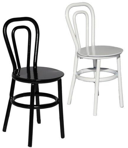 Miniatur // SCHWARZ oder weiß Stuhl // Bistrostuhl // Gartenstuhl aus Metall