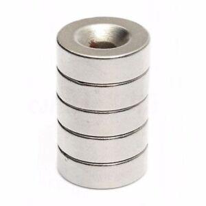 5 Stück Set Starke Magnete N35 Neodym Permanentmagnet 15mm x 5mm mit 5mm Loch