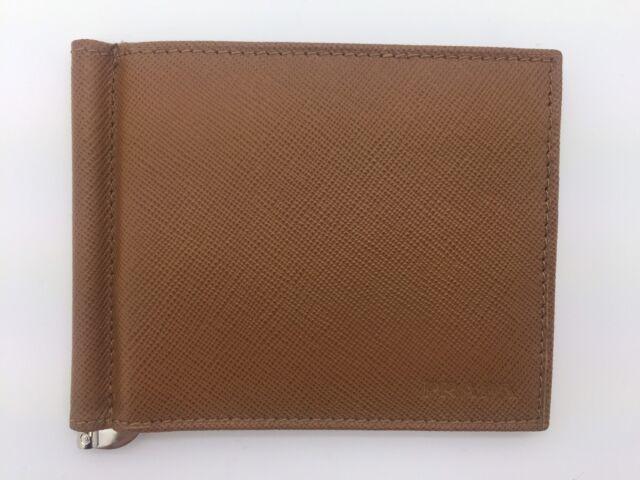45d131f2 $360 PRADA bifold tan saffiano leather mens wallet/credit card case money  clip