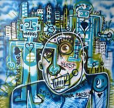 BIG ORIGINAL Street Art Huge Urban Painting Canvas Modern Abstract Basquiat Oil