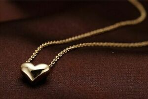 Gold-Necklace-Womens-Fashion-Statement-Bib-Chain-Plated-Pendant-Heart-Jewelry