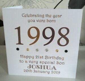 Image Is Loading 21st 1998 Year You Were Born Birthday Card