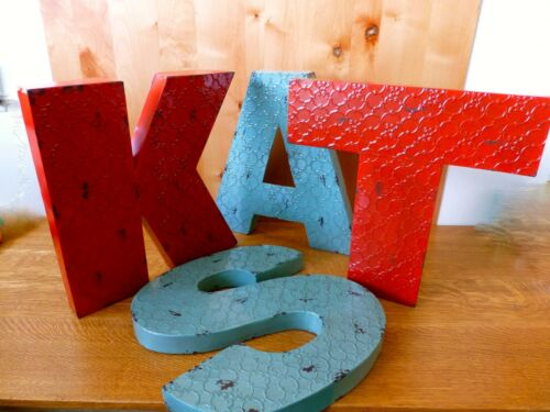 """INDUSTRIAL RED METAL WALL LETTER /""""L/"""" 20/"""" TALL rustic vintage decor novelty sign"""