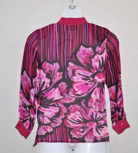 Bob Mackie Romantic Poppy Silk Blouse Size L Pink Multi