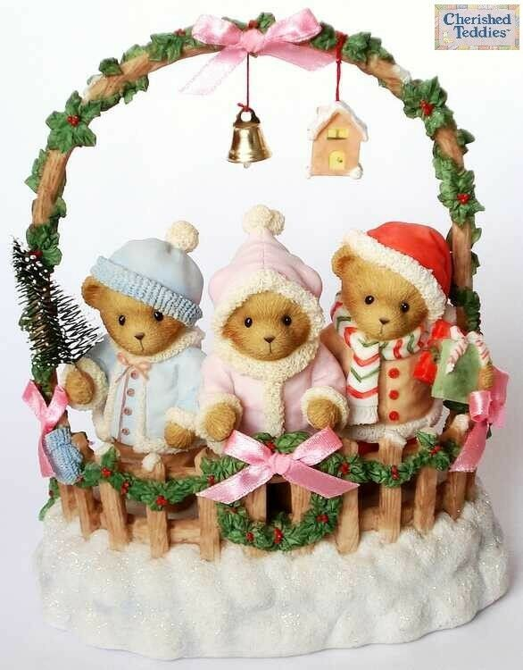 CHERISHED TEDDIES 2007 MUSICAL FIGURINE, 4008154, CASHLEY COURTNEY CAITLIN, MIB