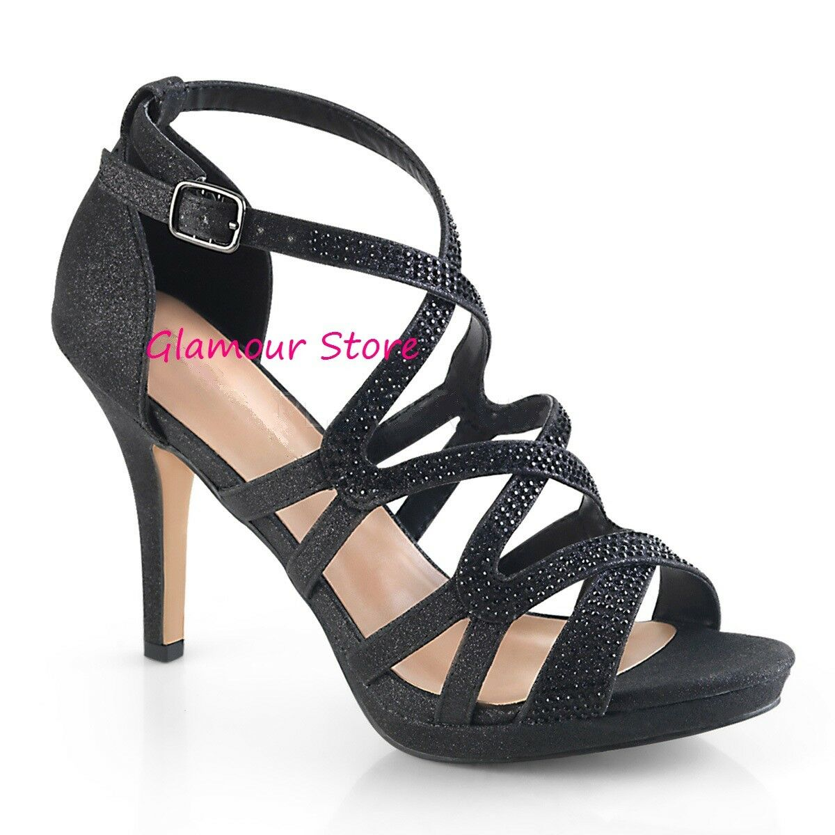 Sexy SANDALI SANDALI SANDALI STRASS tacco 9,5 dal 35 al 42 black mini plateau shoes GLAMOUR 0c1930