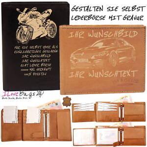 NEU-Damen-Herren-Personalisiert-Gravur-Geldboerse-Geldbeutel-Portemonnaie-Leder