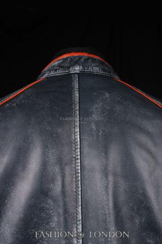 Men/'S FIGHTER Grigio Lavato Pelle D/'Agnello Striscia fresco Moto Biker Giacca in Pelle