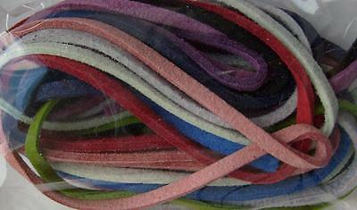 TEN 18MM SUEDE FLAT CORD FOR JEWELLERY MAKING COLOUR CHOICES