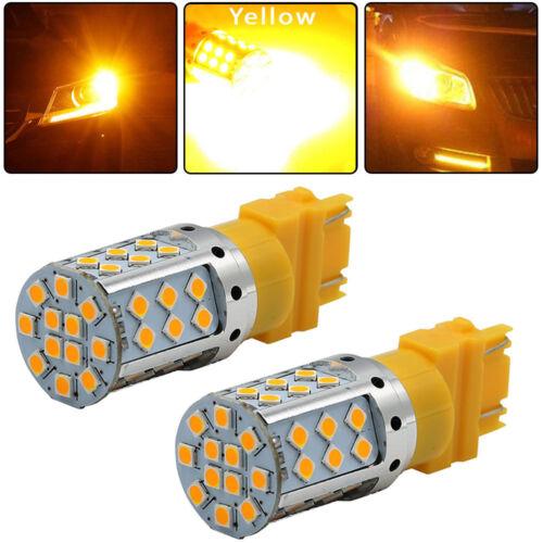 2Pcs 1300LM 3157 Error Free High Power LED Amber Yellow Turn Signal Light Bulbs