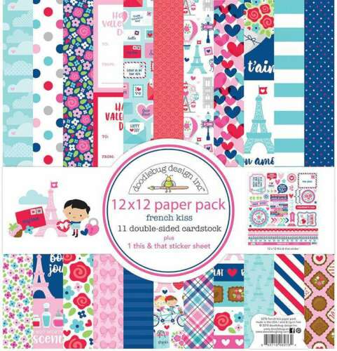"""Doodlebug Double-Sided Paper Pack 12/""""X12/"""" 12//Pkg French Kiss 842715062764"""