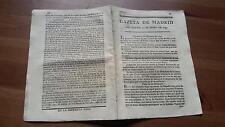 1793 Gazeta de Madrid Núm 7 del Martes 22 de Enero, Roma Alicante Madrid Viena
