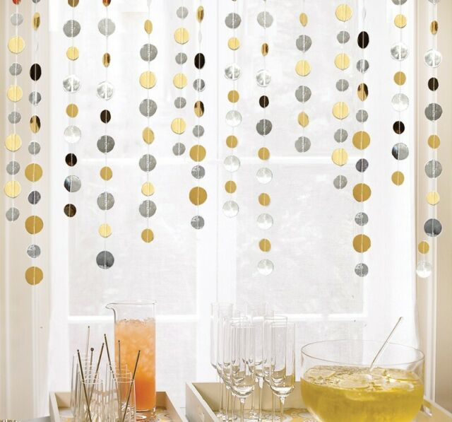1.5M Gold/ Sliver Circle Paper Garland / Drop Party Decoration