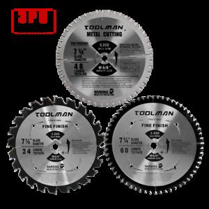 "3PC Set 7-1//4/""60T/&48T/&24T Arbor5//8/""Carbide Tip Circular Saw Blade For Metal Wood"