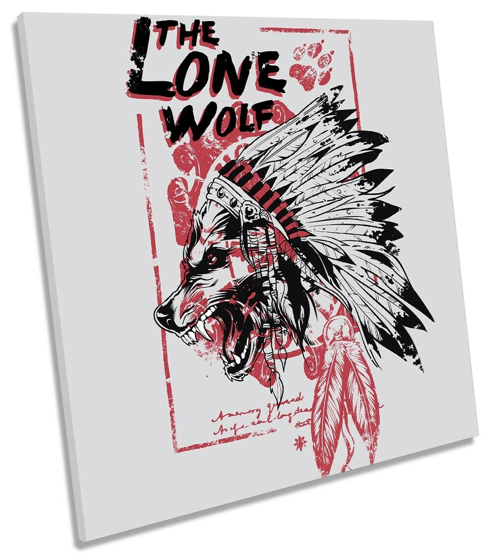 The Lone Wolf Headdress Picture CANVAS WALL ART Square Print